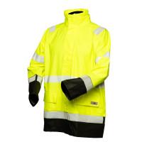 Huomiovärinen sadeasusetti kelta/musta EN 20471/EN 343 - 4308