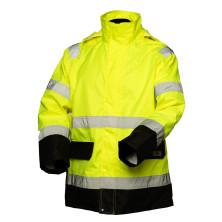 Huomiovärinen sadeasusetti kelta/musta EN 20471/EN 343 - 4310