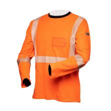 Hi-Vis pitkähihainen oranssi puuvillainen katkoprintti huomiopaita EN 20471 Lk.2 - 4363